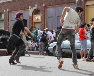 Street dancers at 1345 Division Street.